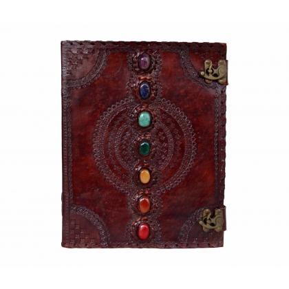 EXTRA LARGE 7 CHAKRA STONE WICCA HANDMADE BOOK