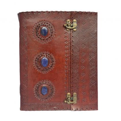 Embossed-Large-Triple-Blue-Stone-Leather-Bound-Journal-w-Double-Swing-Clasps